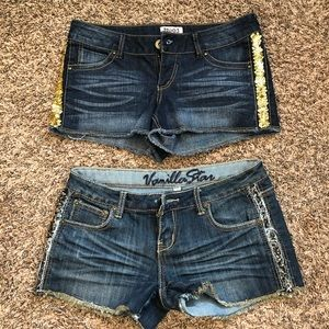 2 Jean Shorts with Gold Sequins Sides